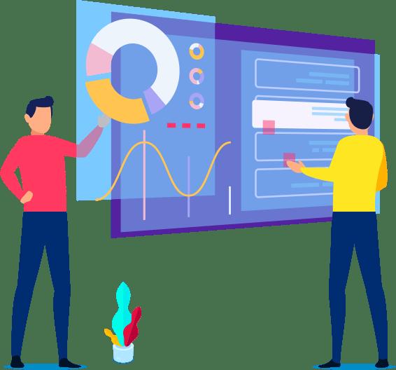 Présentation de deux experts des avantages de wordpress sur grand écran