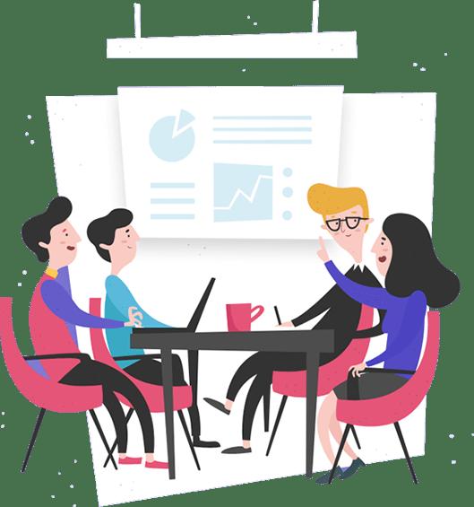 Mise en scène d'une réunion de présentation
