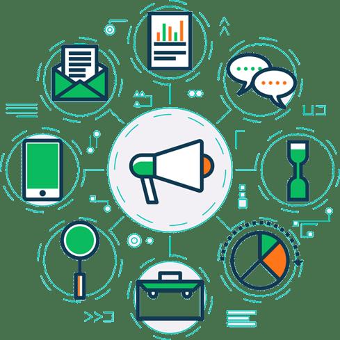 Haut parleur entouré des différentes catégories d'outils disponnibles