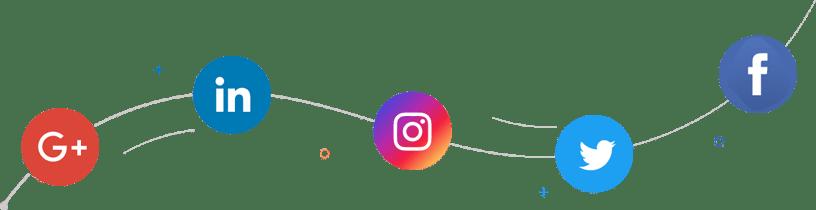 Logos des différents réseaux sociaux attachés par un file.
