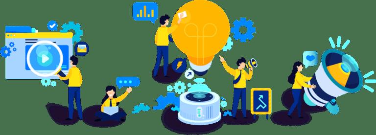 Processus du suivi de conversion repenant plusieurs symboles : une publicité, une roue de parametrage, une ampoule, un un éclair ainsi qu'un haut parleur, tous entourés d'experts en publicité.