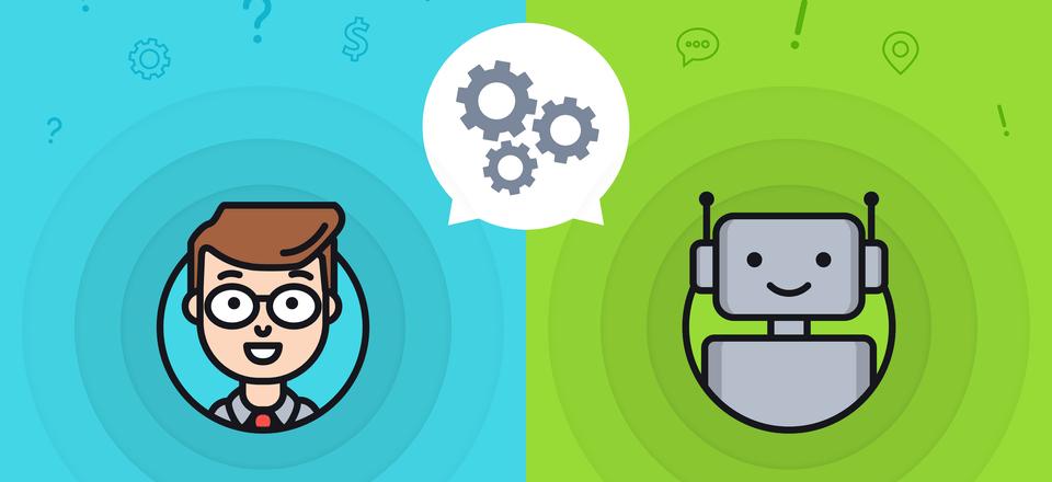 conversation entre un humain et un robot. Une bulle conversationnelle entre les deux protagonistes est remplacé par un mecanisme de roues dentées