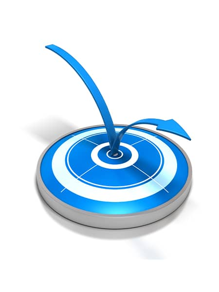 Flèche bleue rebondissant sur le centre d une cible bleue et blanche